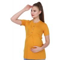 Luvmabelly - MYRA4121 - Önü Düğmeli Hamile Bluzu - Hardal