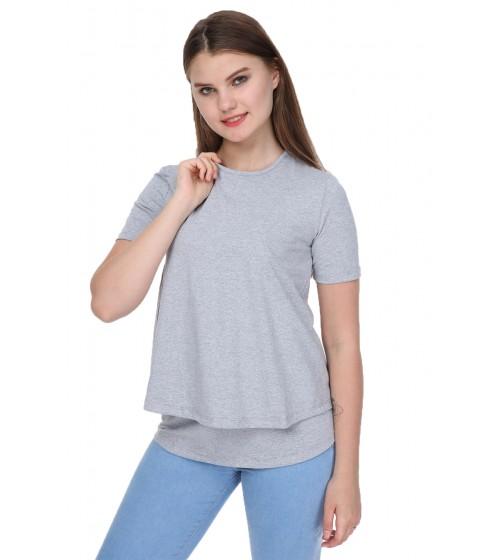 Luvmabelly - MYRA4140 - Kısa Kollu Emzirme Tshirt - Gri