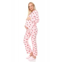 Luvmabelly MYRA9531 Düğmeli Biyeli Hamile Pijama Takımı - Pembe